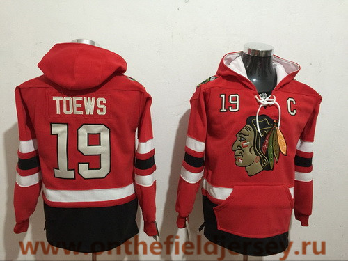 Men's Chicago Blackhawks #19 Jonathan Toews NEW Red Pocket Stitched NHL Old Tim Hockey Hoodie