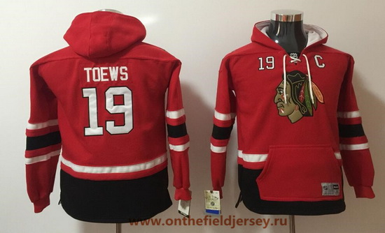 Youth Chicago Blackhawks #19 Jonathan Toews Red Pocket Stitched NHL Old Time Hockey Pullover Hoodie