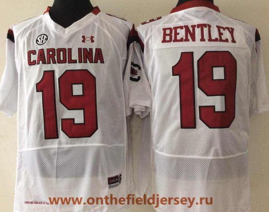 Men's South Carolina Gamecocks #19 Jake Bentley White College Football Stitched Under Armour NCAA Jersey
