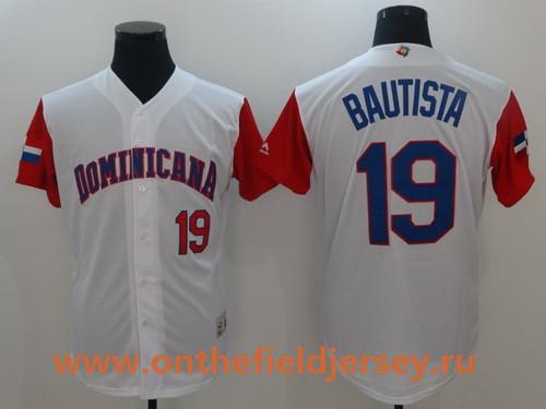 Men's Dominican Republic Baseball #19 Jose Bautista Majestic White 2017 World Baseball Classic Stitched Authentic Jersey