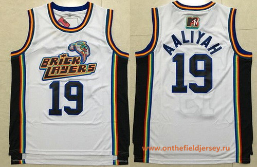 Men's The Movie Bricklayers 1996 MTV Rock N Jock #19 Aaliyah White Soul Swingman Basketball Jersey