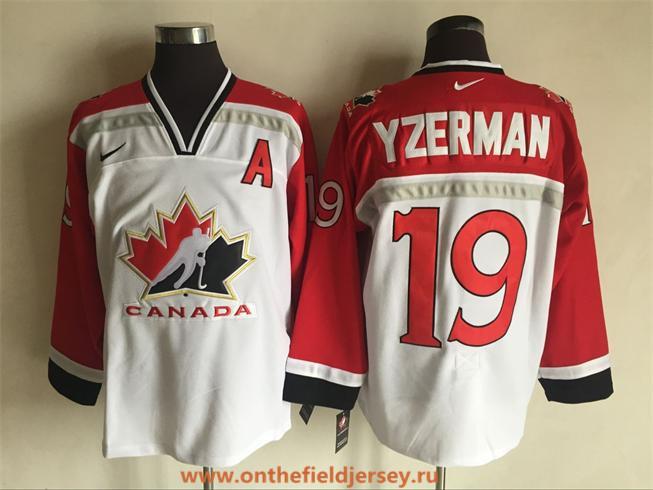 Men's 1998 Team Canada #19 Steve Yzerman White Nike Olympic Throwback Stitched Hockey Jersey