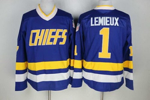 Men's The Movie Slap Shot Charlestown Chiefs #1 Denis Lemieux Blue Away Stitched Hockey Jersey