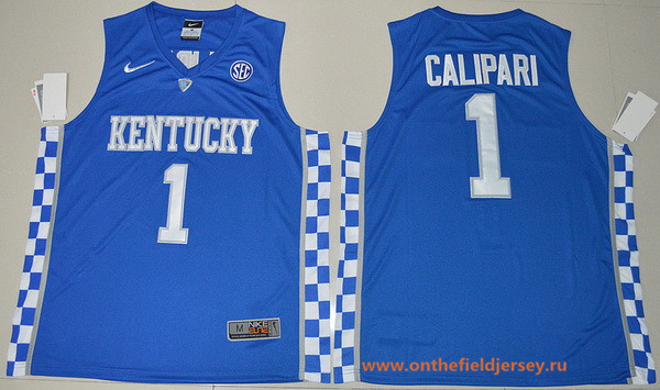Men's Kentucky Wildcats #1 John Calipari Royal Blue College Basketball 2017 Nike Swingman Stitched NCAA Jersey