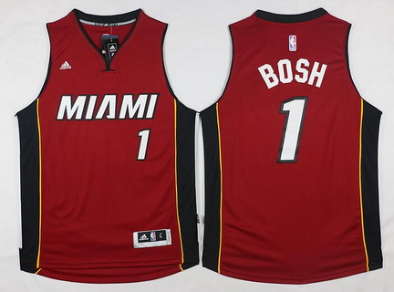 Men's Miami Heat #1 Chris Bosh Revolution 30 Swingman 2014 New Red Jersey