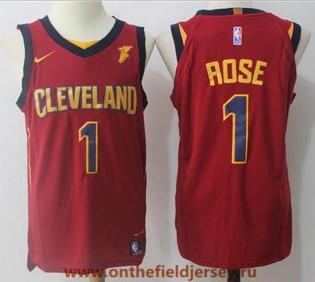 Men's Cleveland Cavaliers #1 Derrick Rose Burgundy Red 2017-2018 Nike Swingman Goodyear Stitched NBA Jersey