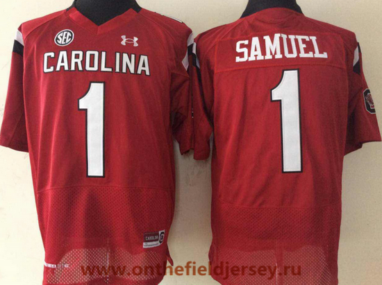 Men's South Carolina Gamecocks #1 Deebo Samuel Red College Football Stitched Under Armour NCAA Jersey