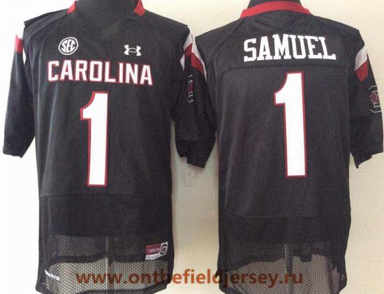 Men's South Carolina Gamecocks #1 Deebo Samuel Black College Football Stitched Under Armour NCAA Jersey