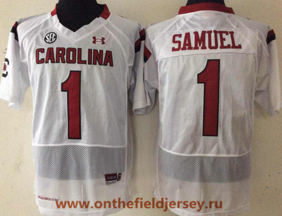 Men's South Carolina Gamecocks #1 Deebo Samuel White College Football Stitched Under Armour NCAA Jersey