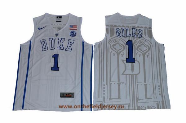 Men's Duke Blue Devils #1 Harry Giles White College Basketball Nike Swingman Stitched 2017 NCAA Jersey