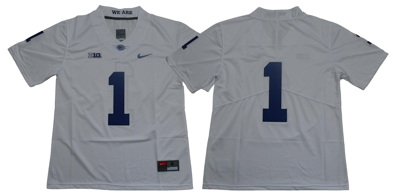 Men's Penn State Nittany Lions #1 KJ Hamler no name White College Football Stitched Nike NCAA Jersey