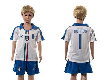 2016 European Cup Italy Away #1 Buffon White Youth Soccer Shirt Kit