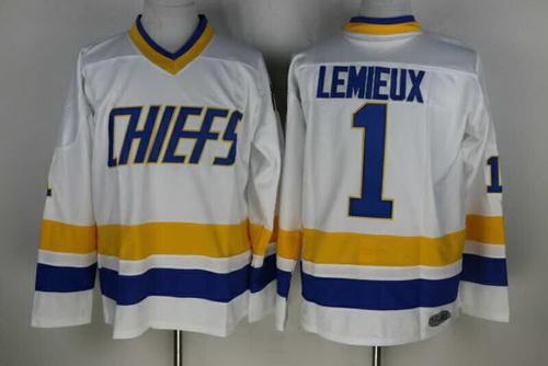 Men's The Movie Slap Shot Charlestown Chiefs #1 Denis Lemieux White Home Stitched Hockey Jersey
