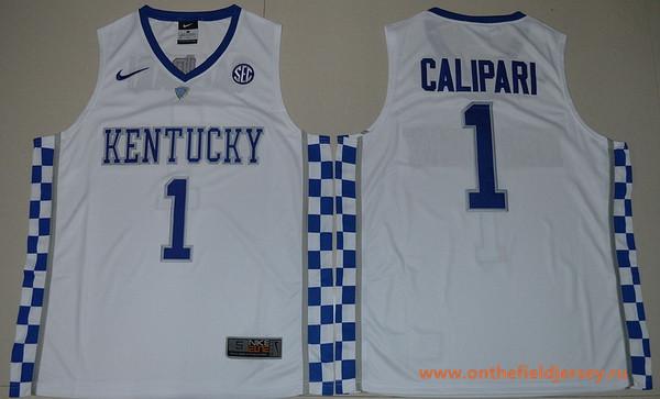 Men's Kentucky Wildcats #1 John Calipari White College Basketball 2017 Nike Swingman Stitched NCAA Jersey