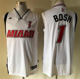 Men's Miami Heat #1 Chris Bosh Revolution 30 Swingman 2015-16 Retro White Jersey