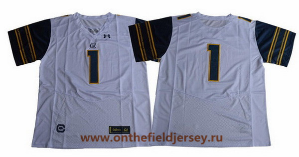 Men's California Golden Bears #1 No Name White 2017 Cal College Football Stitched Under Armour NCAA Jersey