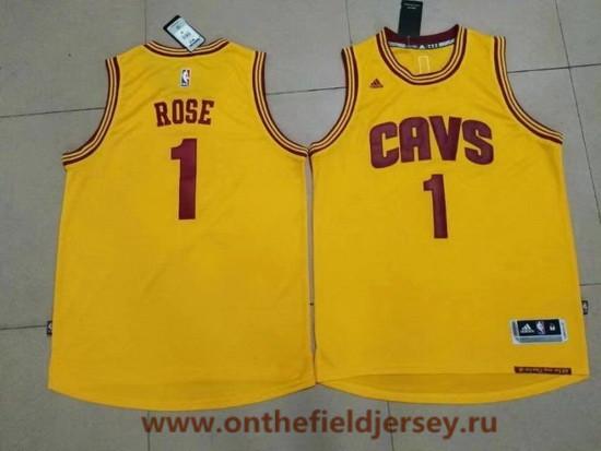 Men's Cleveland Cavaliers #1 Derrick Rose Yellow Stitched NBA Adidas Revolution 30 Swingman Jersey