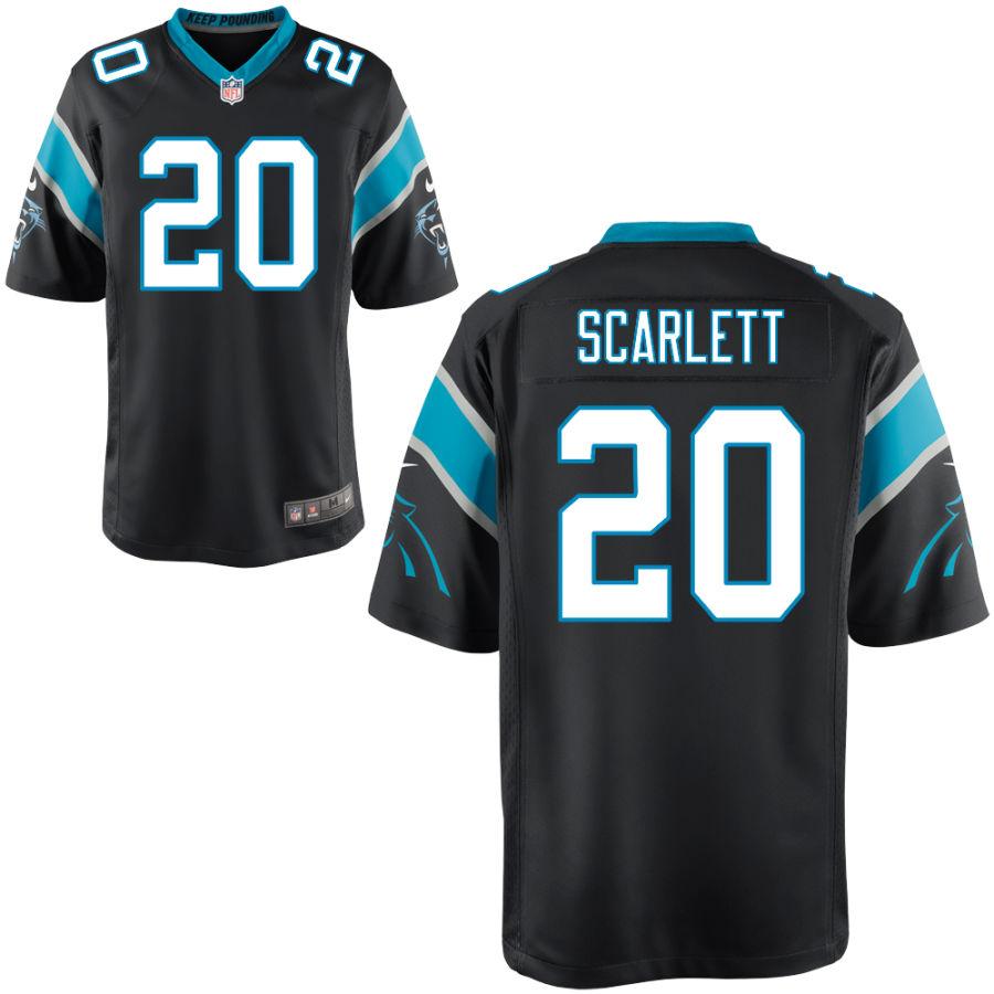 Men's Carolina Panthers #20 Jordan Scarlett Black Stitched NFL Nike Game Jersey