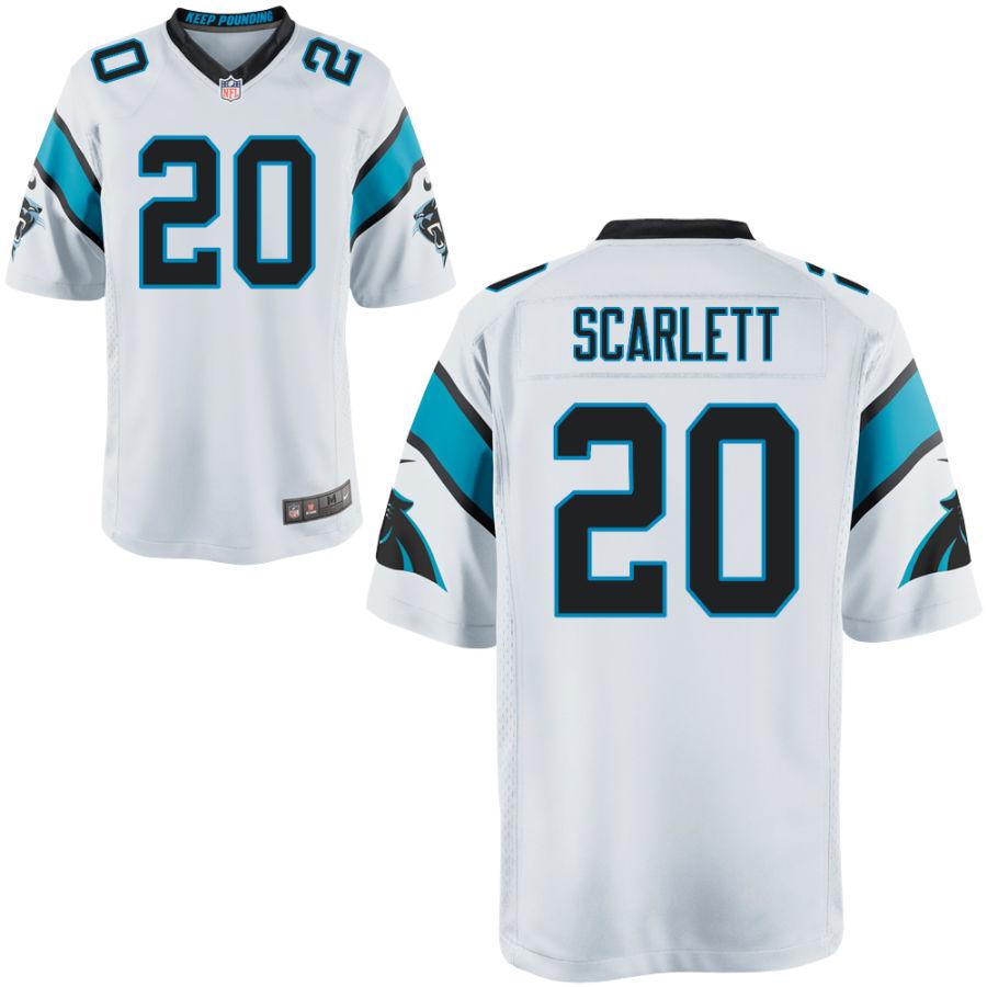 Men's Carolina Panthers #20 Jordan Scarlett White Stitched NFL Nike Game Jersey