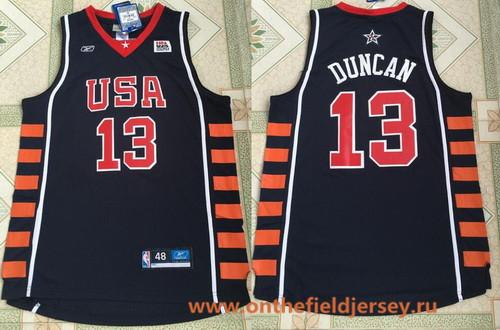 2004 Olympics Team USA Men's #13 Tim Duncan Navy Blue Stitched Basketball Reebok Swingman Jersey