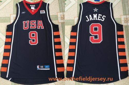 2004 Olympics Team USA Men's #9 LeBron James Navy Blue Stitched Basketball Reebok Swingman Jersey