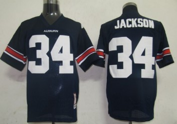 Men's Auburn Tigers #34 Bo Jackson Navy Blue Throwback Stitched College Football NCAA Jersey
