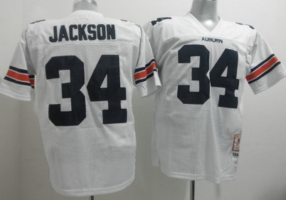 Men's Auburn Tigers #34 Bo Jackson White Throwback Stitched College Football NCAA Jersey