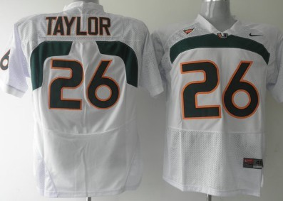 Men's Miami Hurricanes Sean Taylor #26 White Nike College Football Stitched NCAA Jersey