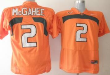 Miami Hurricanes #2 McGahee Orange Jersey