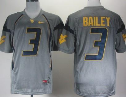 West Virginia Mountaineers #3 Stedman Bailey Gray Jersey