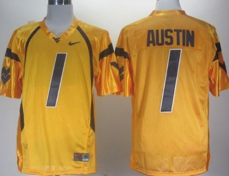 West Virginia Mountaineers #1 Tavon Austin Yellow Jersey