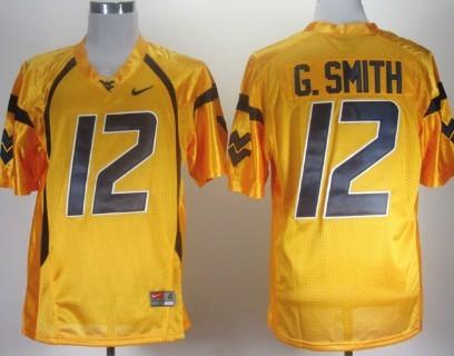 West Virginia Mountaineers #12 Geno Smith Yellow Jersey