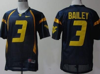 West Virginia Mountaineers #3 Stedman Bailey Navy Blue Jersey