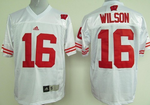 Wisconsin Badgers #16 Russell Wilson White Jersey