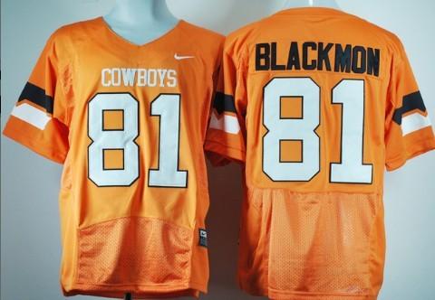 Oklahoma State Cowboys #81 Justin Blackmon Orange Pro Combat Jersey