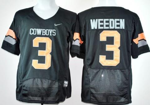 Oklahoma State Cowboys #3 Brandon Weeden Black Pro Combat Jersey