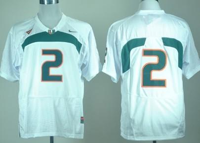 Miami Hurricanes #2 With No Name White Jersey
