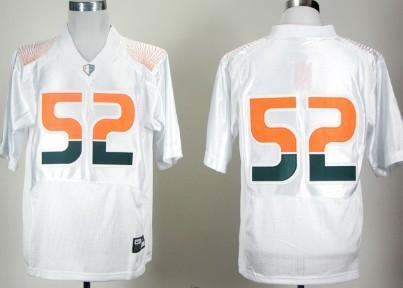 Men's Miami Hurricanes #52 Ray Lewis White Pro Combat College Football Jersey