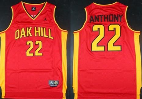 Men's Oak Hill Academy High School #22 Carmelo Anthony Red Soul Swingman Basketball Jersey