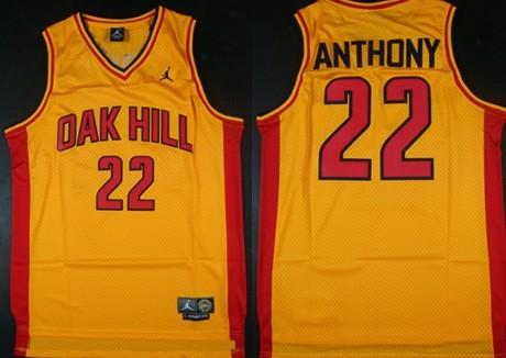 Men's Oak Hill Academy High School #22 Carmelo Anthony Yellow Soul Swingman Basketball Jersey