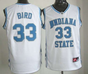 Indiana State Sycamores #33 Larry Bird White Authentic Jersey