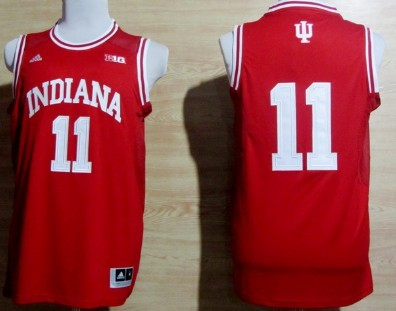 Indiana Hoosiers #11 Isiah Thomas Red Big 10 Patch Jersey