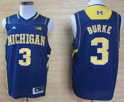Michigan Wolverines #3 Trey Burke Navy Blue Big 10 Patch Jersey