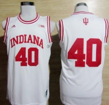 Indiana Hoosiers #40 Cody Zeller White Big 10 Patch Jersey