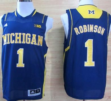 Michigan Wolverines #1 Glenn Robinson III Navy Blue Big 10 Patch Jersey