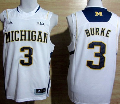 Michigan Wolverines #3 Trey Burke White Big 10 Patch Jersey