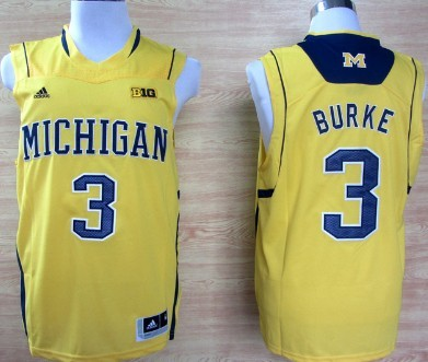 Michigan Wolverines #3 Trey Burke Yellow Big 10 Patch Jersey