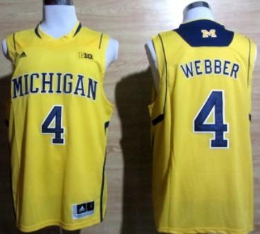 Michigan Wolverines #4 Chirs Webber Yellow Big 10 Patch Jersey