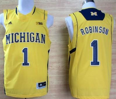 Michigan Wolverines #1 Glenn Robinson III Yellow Big 10 Patch Jersey