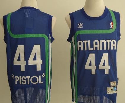 Atlanta Hawks #44 Pistol Pete Maravich Blue Hardwood Classics Soul Swingman Throwback Jersey